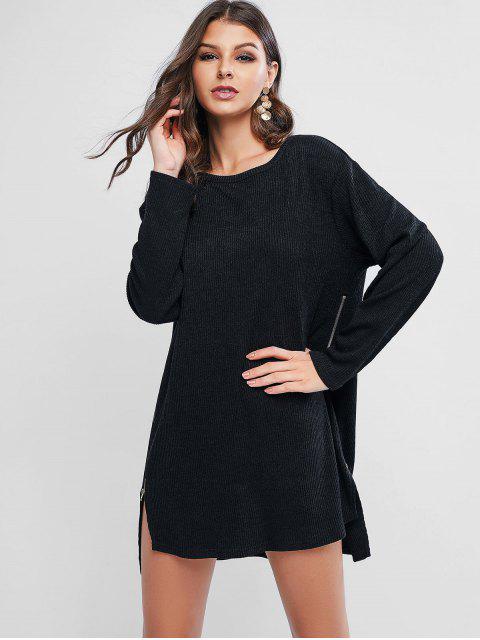 shop ZAFUL Zipper Side High Low Sweater Dress - BLACK S Mobile