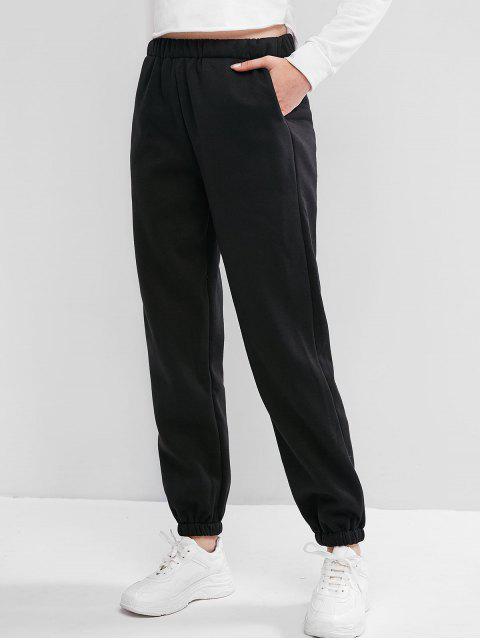 Fleece-Futter Tasche High Rise Jogger Hosen - Schwarz L Mobile