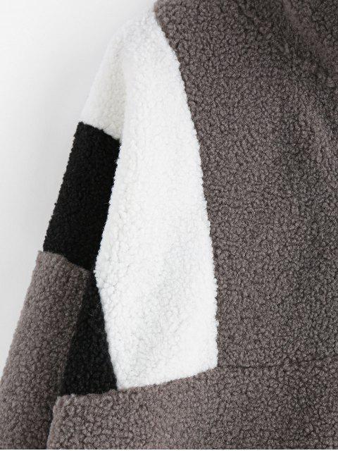 ZAFUL Half-zip Colorblock Teddy Sweatshirt - Schlachtschiff Grau M Mobile