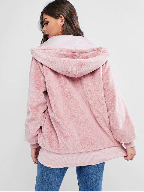 ZAFUL Manteau à Capuche Tunique Zippé avec Poche en Fausse Fourrure - Rose  S Mobile