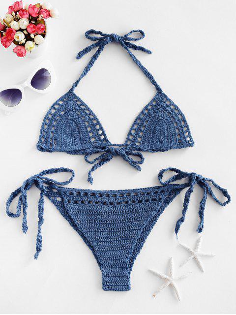 Maillot de Bain Bikini au Crochet à Col Halter - Bleu de Soie L Mobile
