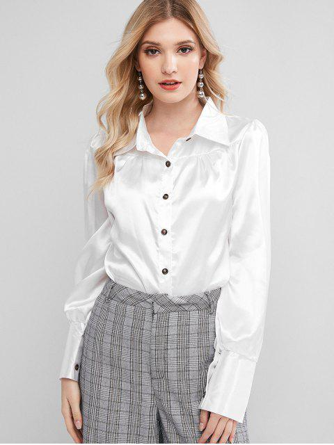 hot Satin Button Up Work Shirt - WHITE M Mobile