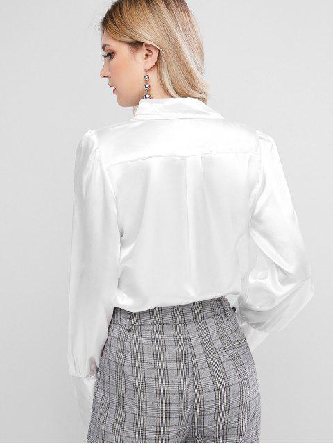 shop Satin Button Up Work Shirt - WHITE S Mobile
