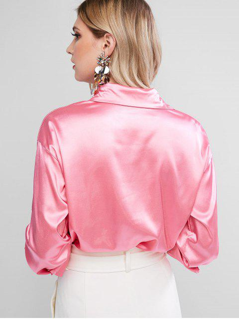 fashion Satin Chest Pocket Roll Tab Sleeve Curved Shirt - HOT PINK S Mobile