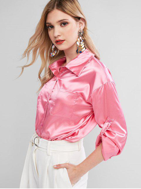 trendy Satin Chest Pocket Roll Tab Sleeve Curved Shirt - HOT PINK L Mobile