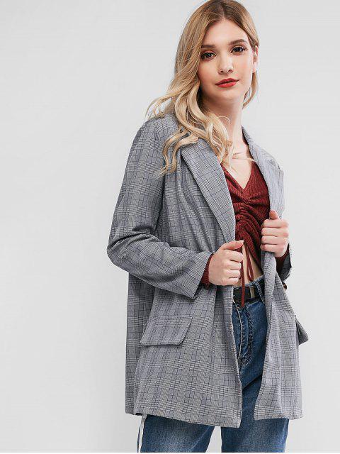 fashion Plaid Notch Lapel Two Button Work Blazer - DARK GRAY M Mobile
