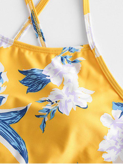 ZAFUL Maillot de Bain Tankini Fleur à Lacets - Multi-A L Mobile