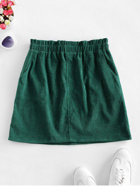 buy ZAFUL Solid Corduroy Flare Skirt with Pockets - GREEN S Mobile