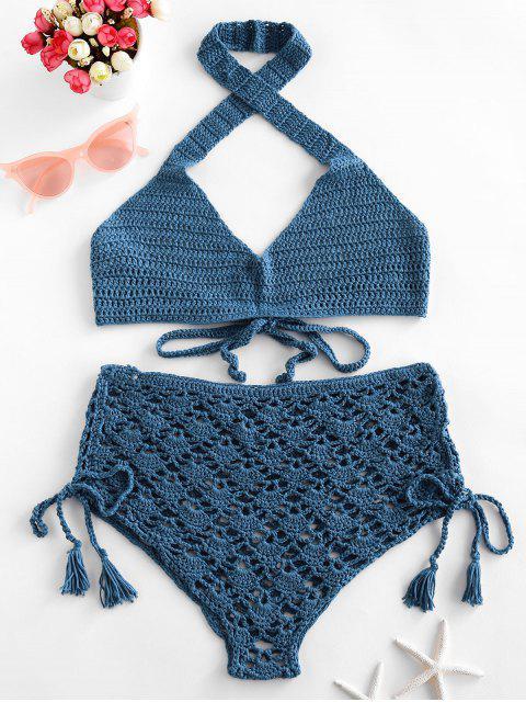 Maillot de Bain Bikini Croisé au Crochet à Lacets à Col Halter - Bleu de Soie L Mobile