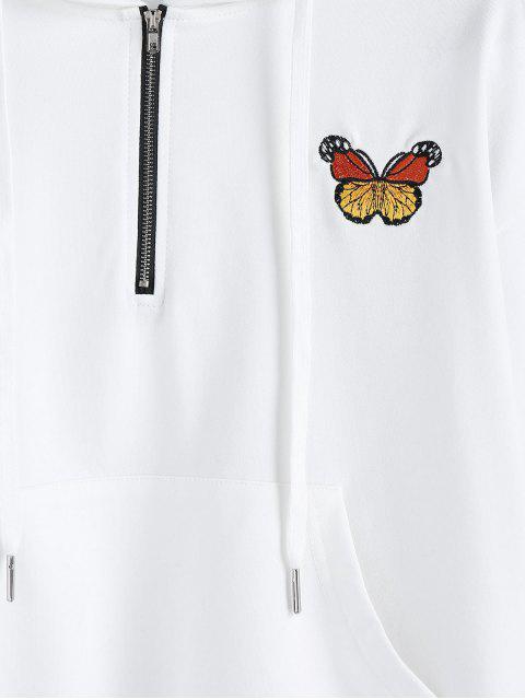 ZAFUL Sudadera con Capucha de Hombro Caído y Bordado de Mariposa - Blanco XL Mobile