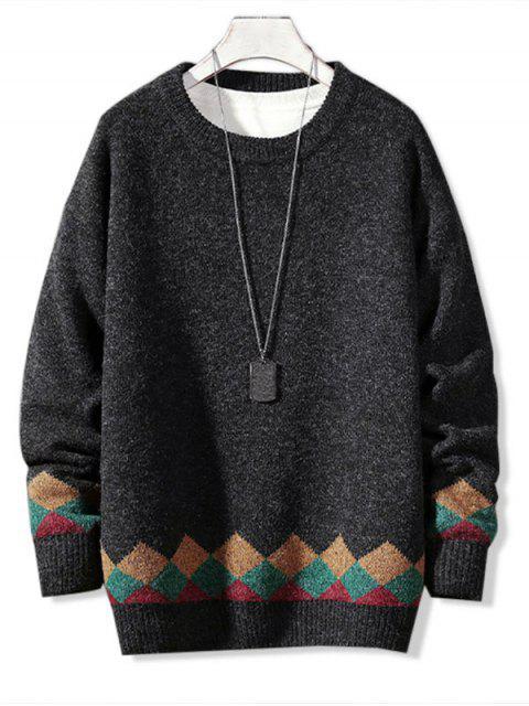 new Casual Geometric Pattern Pullover Sweater - DARK GRAY L Mobile