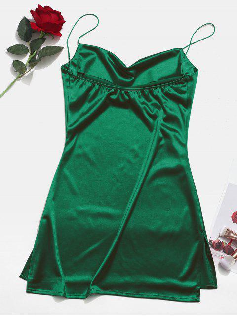 women's Side Slit Satin A Line Cami Dress - GREEN M Mobile