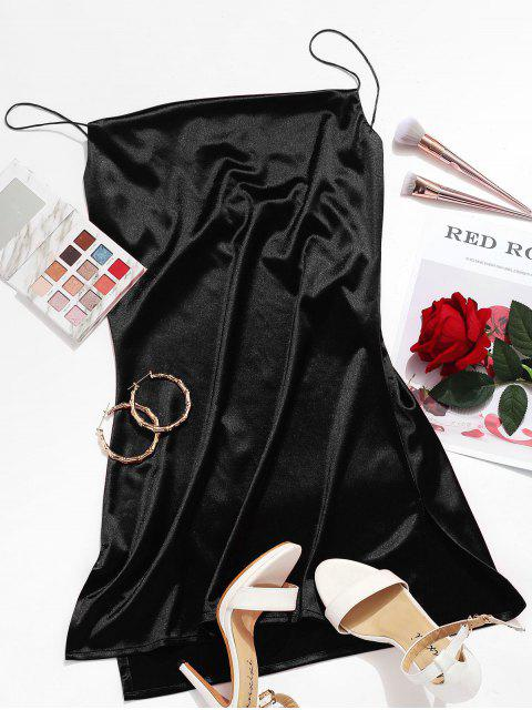 sale Side Slit Satin A Line Cami Dress - BLACK S Mobile