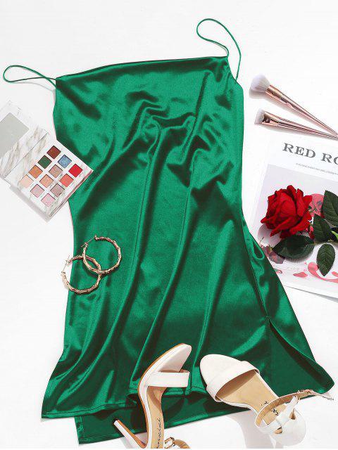 ladies Side Slit Satin A Line Cami Dress - GREEN L Mobile