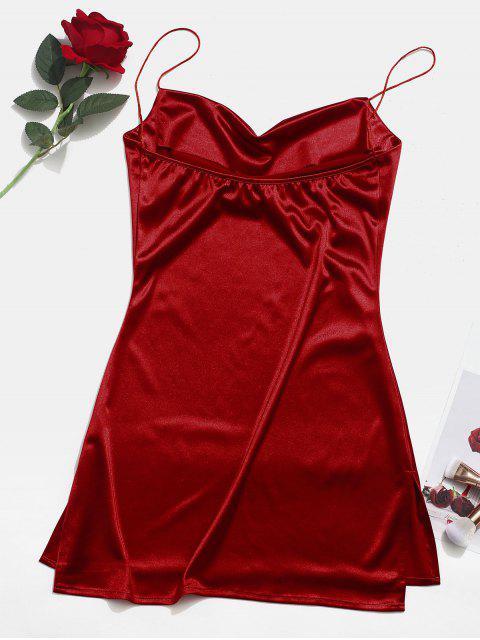 best Side Slit Satin A Line Cami Dress - RED WINE S Mobile