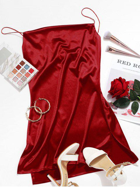 online Side Slit Satin A Line Cami Dress - RED WINE M Mobile