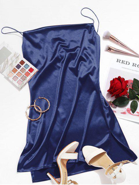 Vestido de Corte Lateral Satinado Corte a Cami - Azul Profundo S Mobile