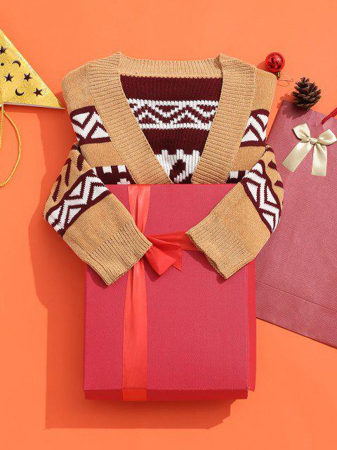 fancy ZAFUL Snowflake Buttoned Chenille Knit Christmas Cardigan - MULTI M Mobile