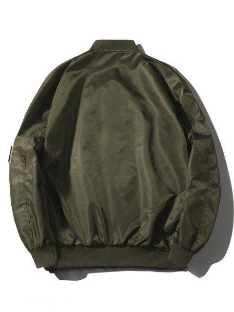 ZAFUL Buchstabe Grafik-Stickerei-Amerikanische Flagge Applikationen Tasche Jacke - Armeegrün M Mobile