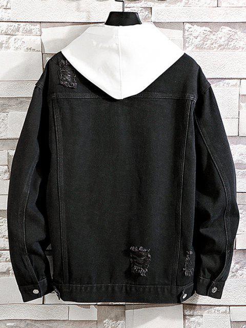 Veste Déchirée en Couleur Unie en Denim - Noir XL Mobile