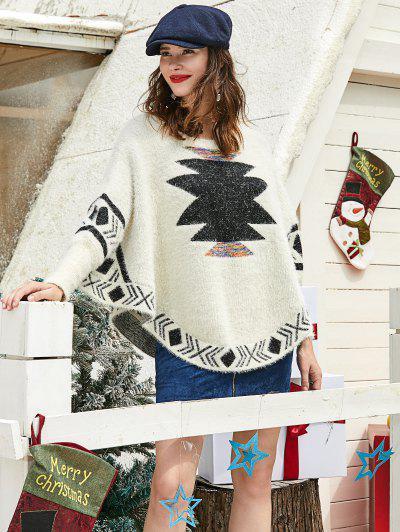 ZAFUL Christmas Graphic Fuzzy Knit Batwing Sweater - Multi M