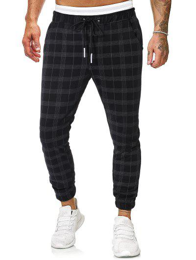 Plaid Print Double Pockets Drawstring Jogger Pants - Multi M