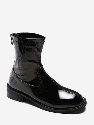 Plain Patent Leather Low Heel Ankle Boots - Black Eu 35