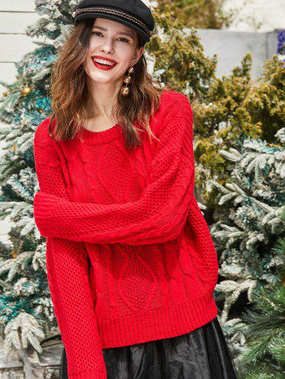 ZAFUL Christmas Cable Chunky Knit Drop Shoulder Sweater - Lava Red L