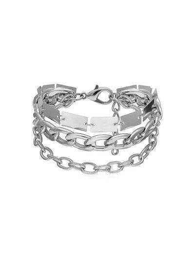 Chain Metallic Punk Bracelet - Silver