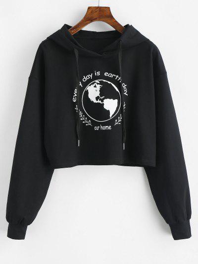 ZAFUL Earth Day Slogan Crop Hoodie - Black M