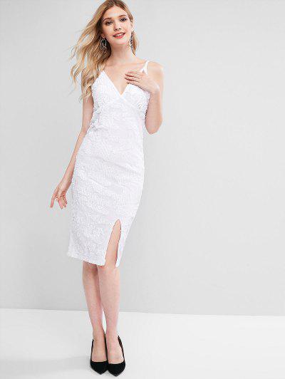 Sequins Velvet Holiday Dress - White M