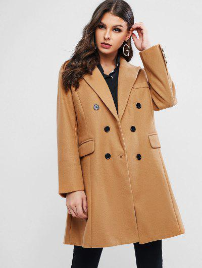 Image of Double Breasted Wool Blend Coat