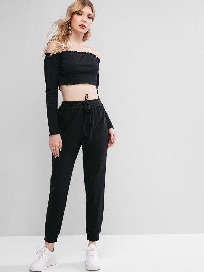 ZAFUL Off Shoulder Crop Drawstring Two Piece Suit - Black M