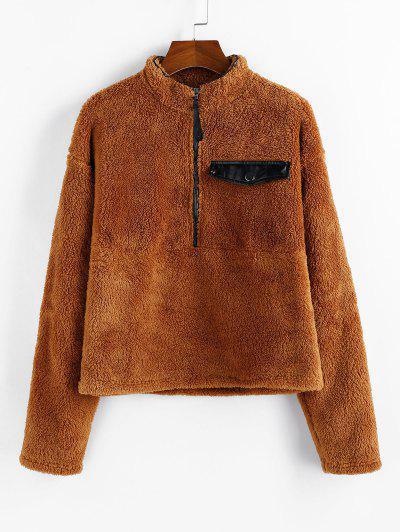 ZAFUL Solid Half Zip Pullover Fluffy Sweatshirt - Cinnamon Xl