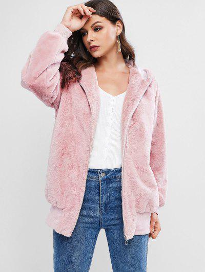 ZAFUL Faux Fur Hooded Zip Pocket Tunic Coat - Pink S