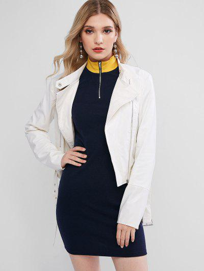 ZAFUL Asymmetric Zipper Belted Solid Faux Leather Jacket - White Xl