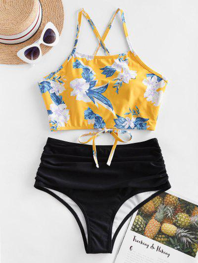 Floral Lace Up Tankini Swimwear