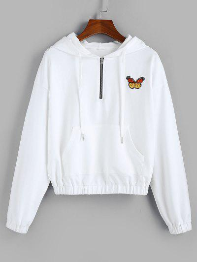 ZAFUL Butterfly Embroidered Drop Shoulder Front Pocket Hoodie - White Xl