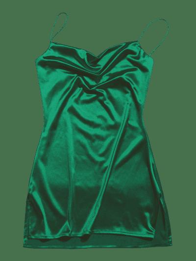 Side Slit Satin A Line Cami Dress