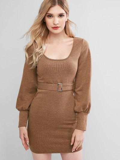 ZAFUL Knitted Belted Bodycon Mini Dress - Wood L