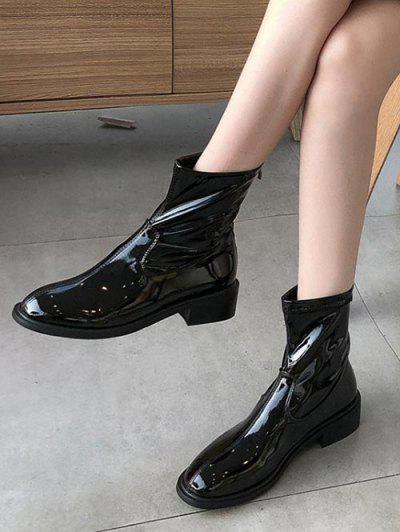 Plain Patent Leather Low Heel Ankle Boots - Black Eu 35