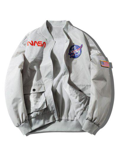 ZAFUL Letter Graphic Embroidery American Flag Applique Pocket Jacket - Gray Goose S