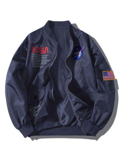 ZAFUL Letter Graphic Embroidery American Flag Applique Pocket Jacket - Cadetblue Xl