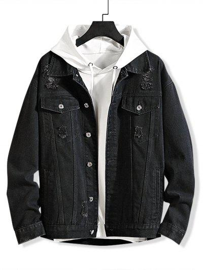 Solid Color Ripped Decorated Denim Jacket - Black 2xl