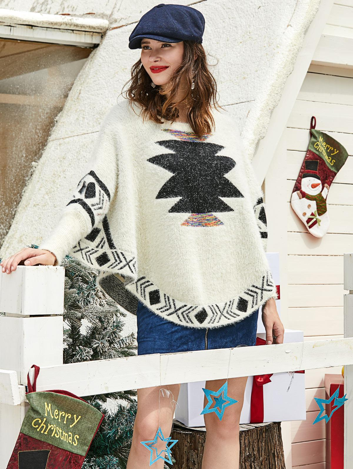 ZAFUL Christmas Graphic Fuzzy Knit Batwing Sweater