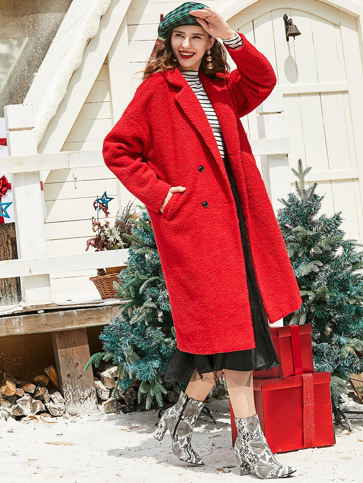 ZAFUL Lapel Christmas Double Breasted Pockets Teddy Coat