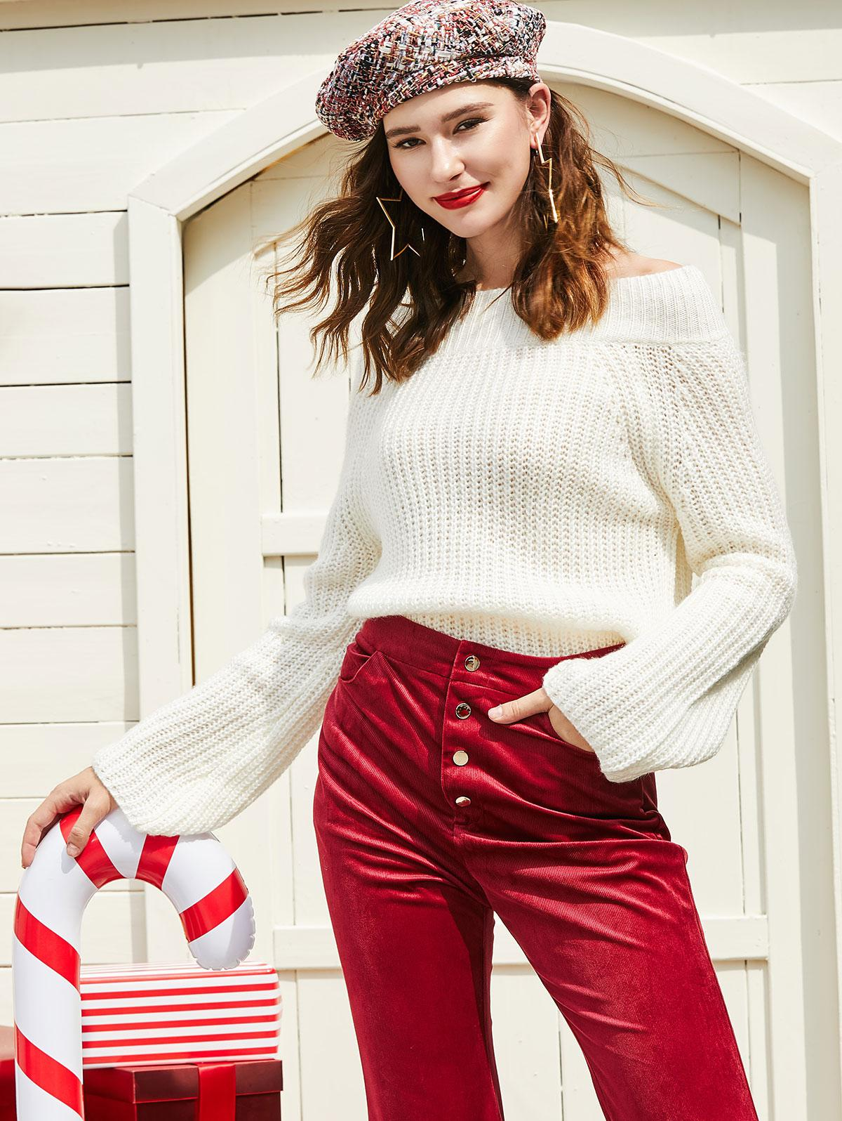 ZAFUL Off Shoulder Solid Chunky Sweater