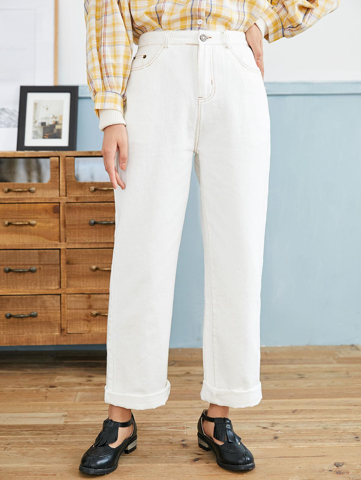 Pocket High Rise Straight Loose Fit Jeans