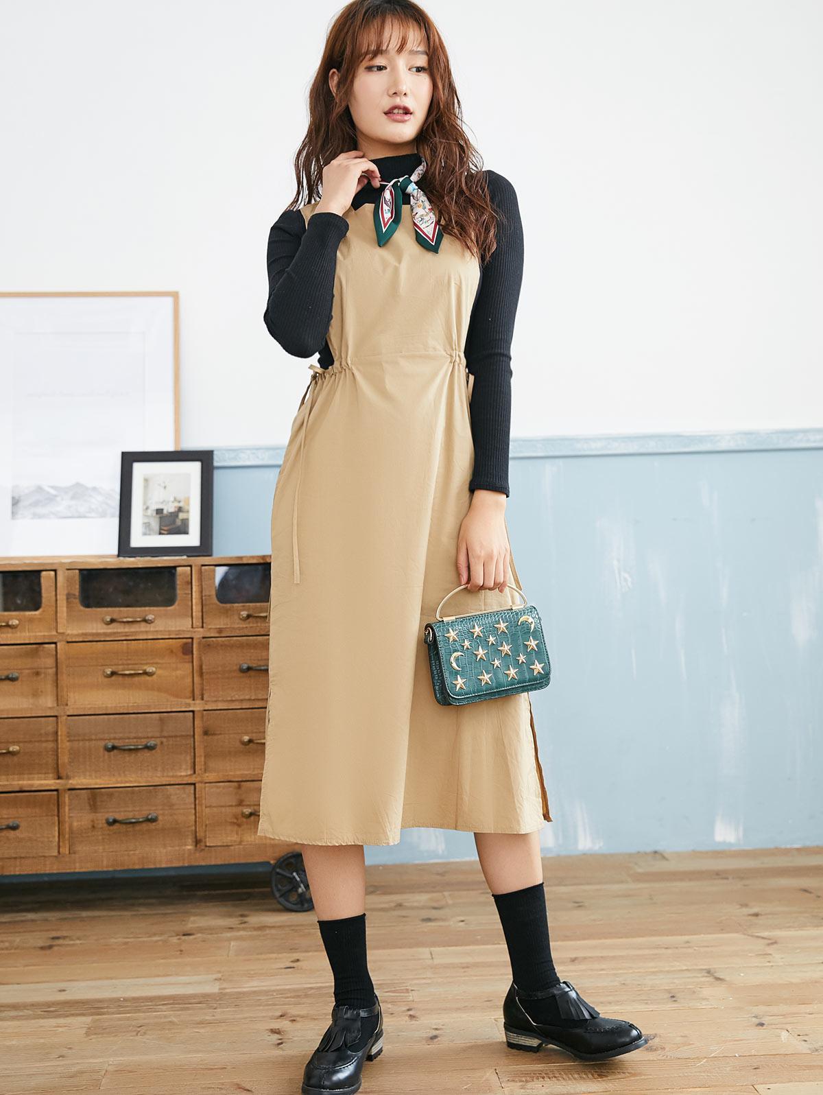 Square Collar Waist Drawstring Side Slit Dress