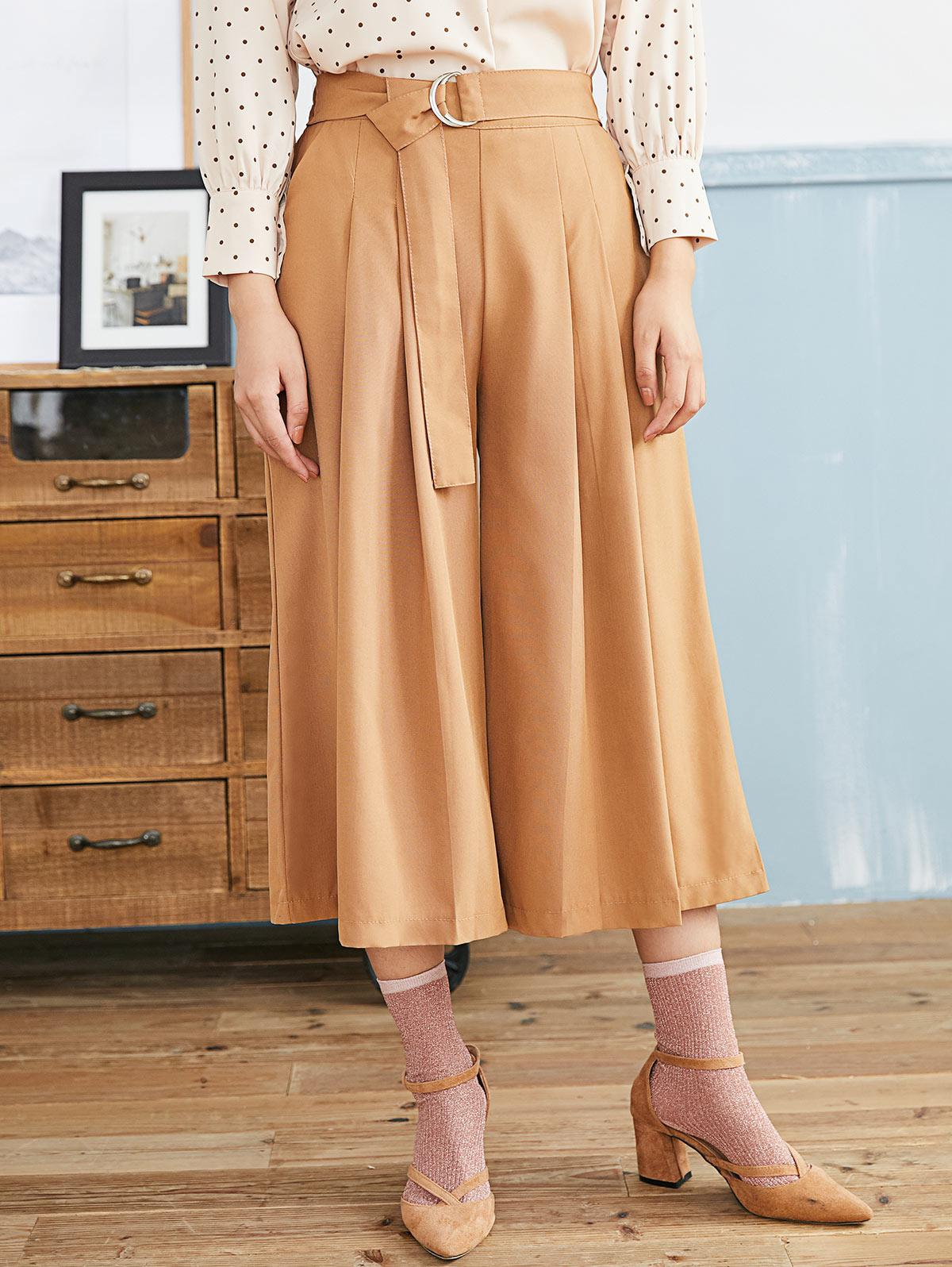 Pleated D-ring Culotte Pants
